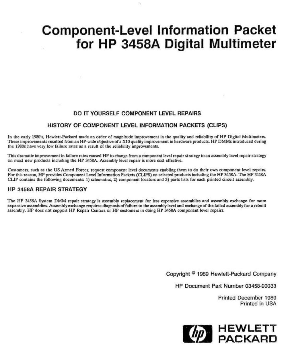 Information Packet for 3458A
